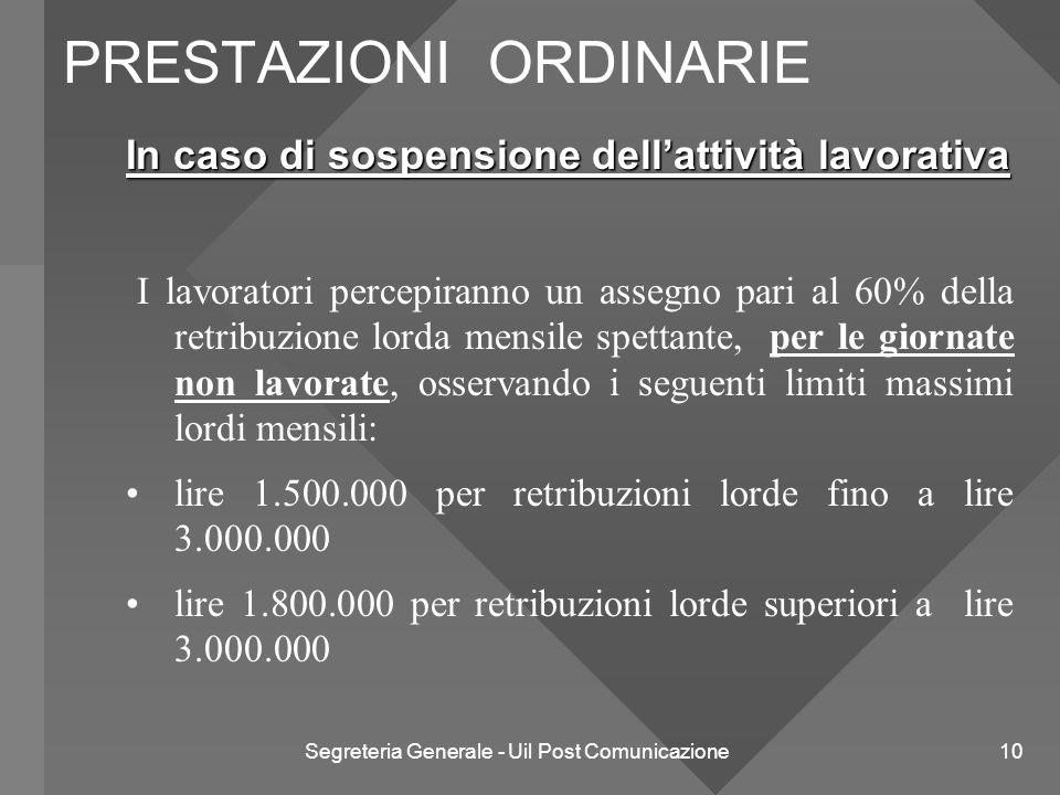Segreteria Generale - Uil Post Comunicazione 10 In caso di sospensione dell'attività lavorativa I lavoratori percepiranno un assegno pari al 60% della
