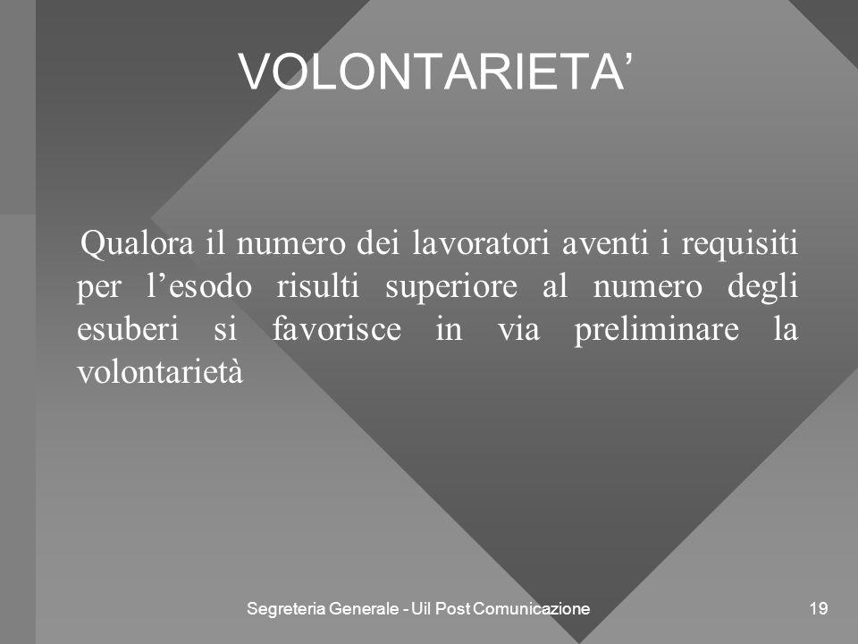 Segreteria Generale - Uil Post Comunicazione 19 VOLONTARIETA' Qualora il numero dei lavoratori aventi i requisiti per l'esodo risulti superiore al num