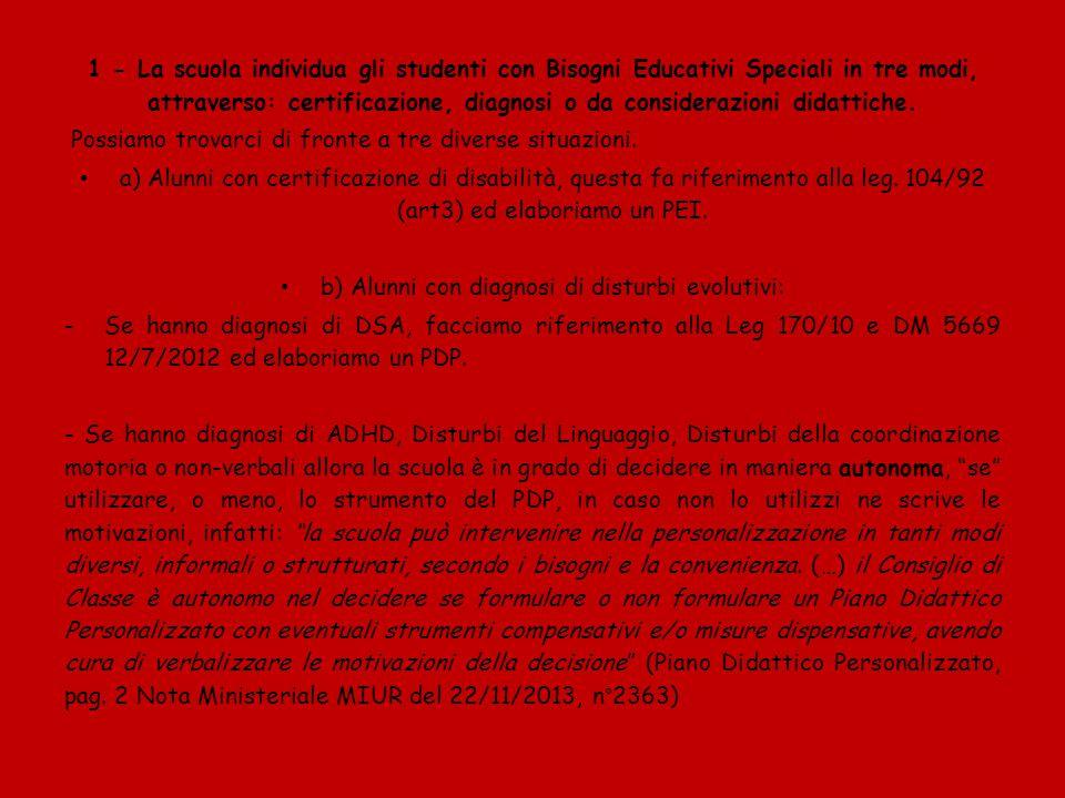 c) Alunni con svantaggio socioeconomico, linguistico e culturale: Tali tipologie di BES dovranno essere individuate sulla base di elementi oggettivi (come ad es.