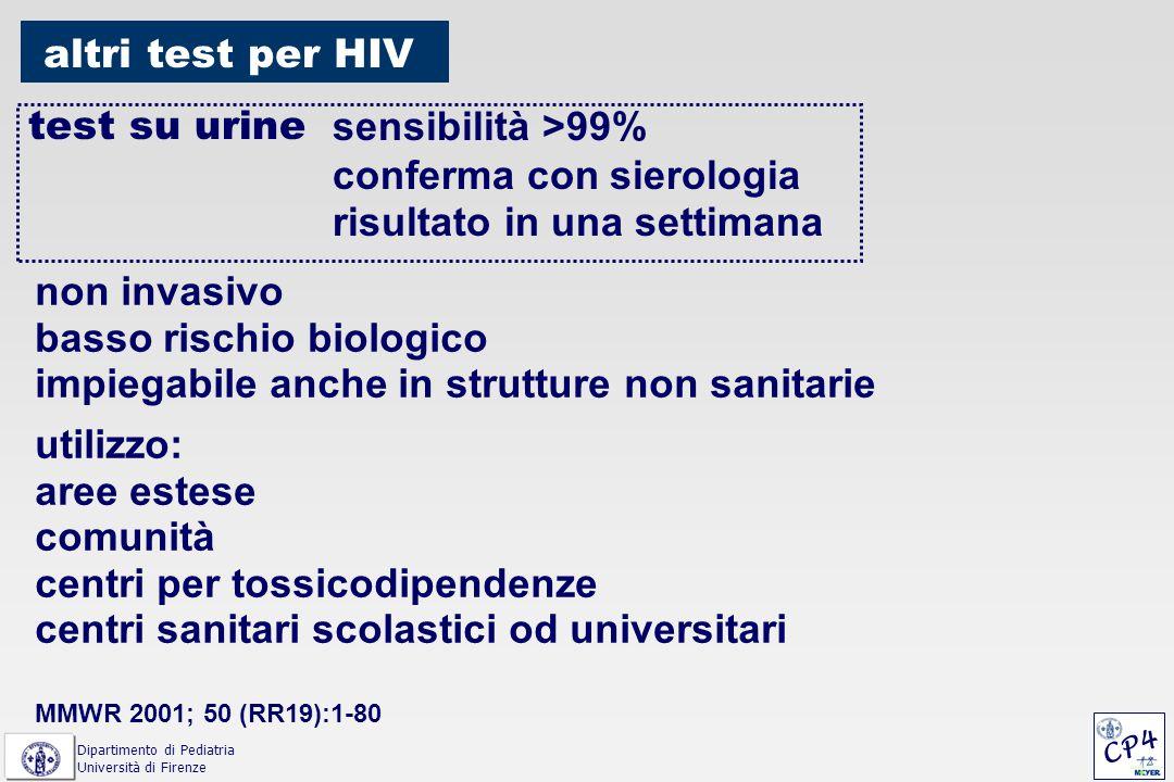 altri test per HIV test su urine sensibilità >99% conferma con sierologia risultato in una settimana non invasivo basso rischio biologico impiegabile