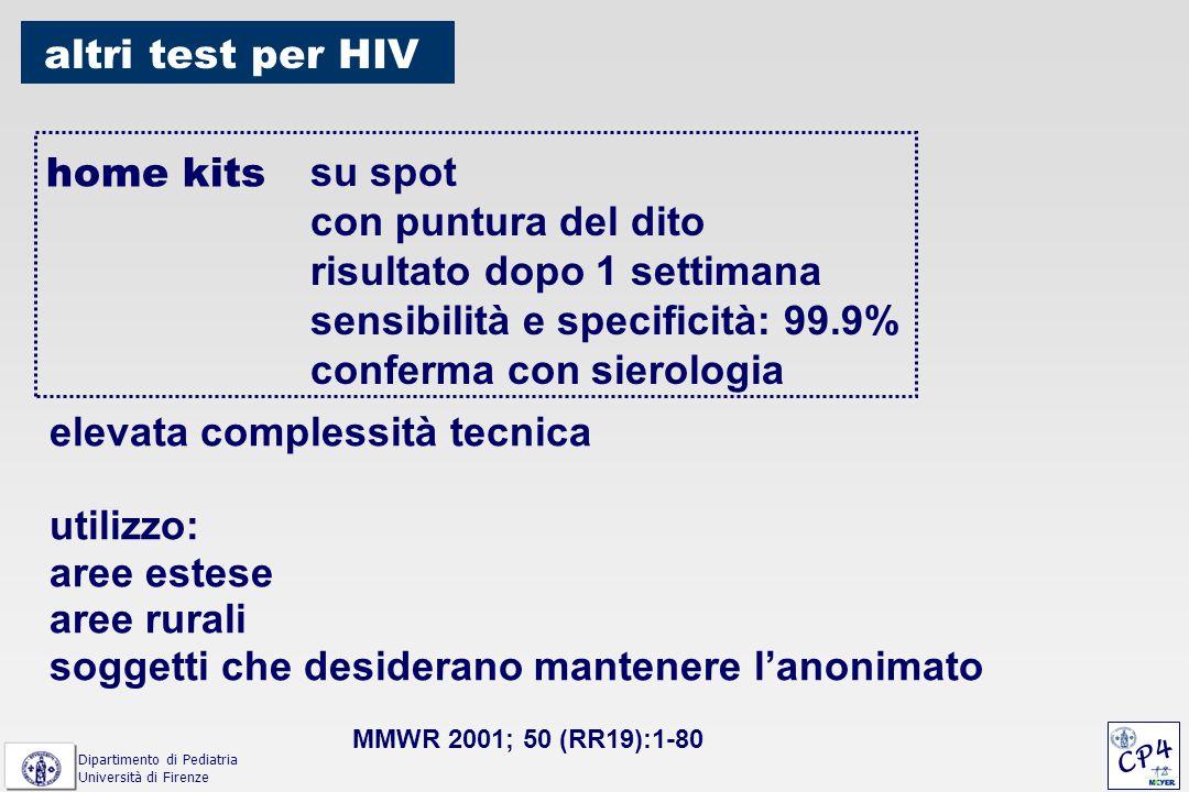 home kits su spot con puntura del dito risultato dopo 1 settimana sensibilità e specificità: 99.9% conferma con sierologia altri test per HIV elevata