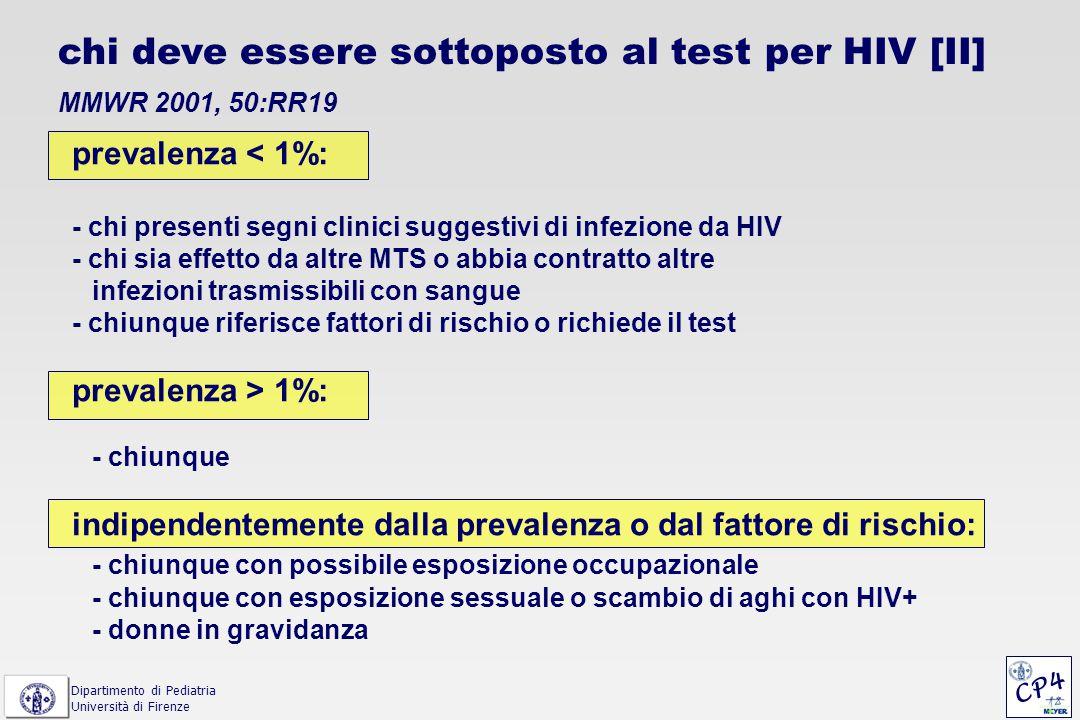 chi deve essere sottoposto al test per HIV [II] MMWR 2001, 50:RR19 prevalenza < 1%: - chi presenti segni clinici suggestivi di infezione da HIV - chi
