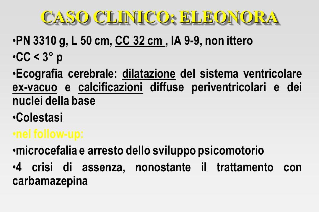 CASO CLINICO: ELEONORA PN 3310 g, L 50 cm, CC 32 cm, IA 9-9, non ittero CC < 3° p Ecografia cerebrale: dilatazione del sistema ventricolare ex-vacuo e