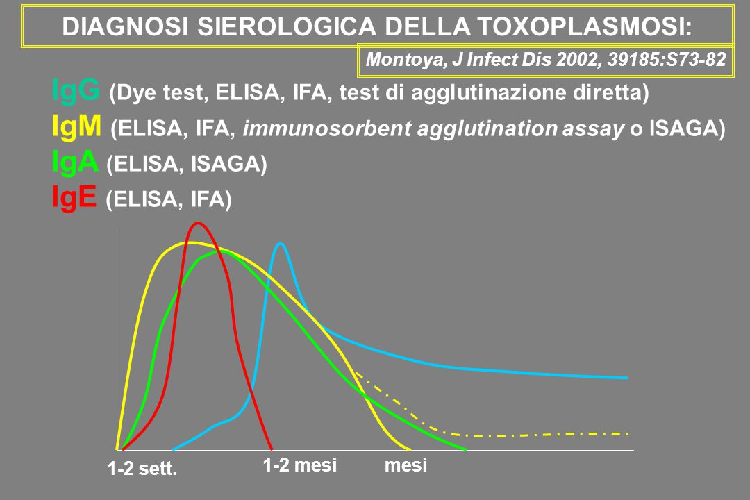 DIAGNOSI SIEROLOGICA DELLA TOXOPLASMOSI: Montoya, J Infect Dis 2002, 39185:S73-82 IgG (Dye test, ELISA, IFA, test di agglutinazione diretta) IgM (ELIS