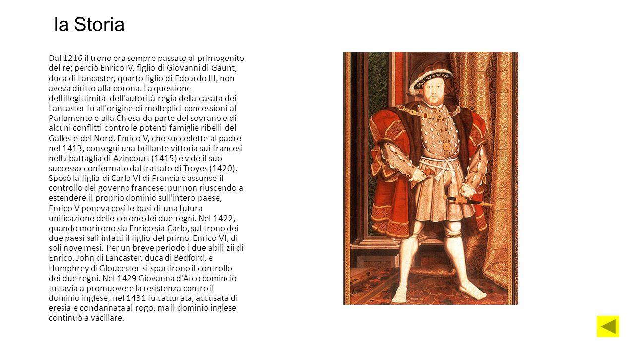 la Storia Dal 1216 il trono era sempre passato al primogenito del re; perciò Enrico IV, figlio di Giovanni di Gaunt, duca di Lancaster, quarto figlio