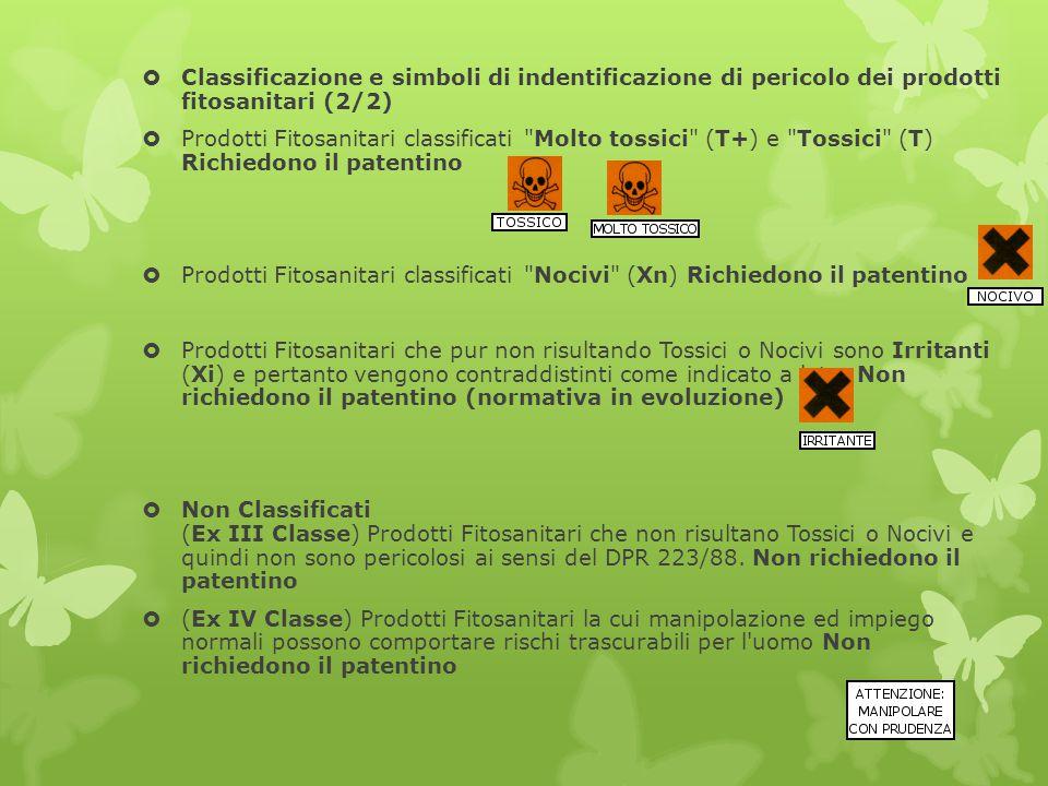  Classificazione e simboli di indentificazione di pericolo dei prodotti fitosanitari (2/2)  Prodotti Fitosanitari classificati