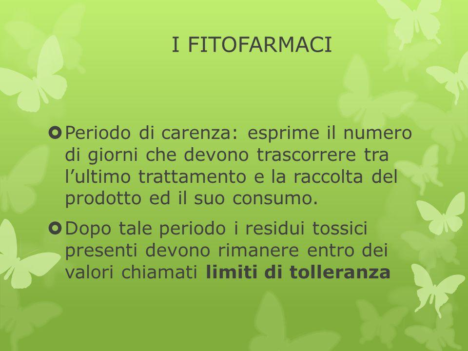 I FITOFARMACI  Periodo di carenza: esprime il numero di giorni che devono trascorrere tra l'ultimo trattamento e la raccolta del prodotto ed il suo c