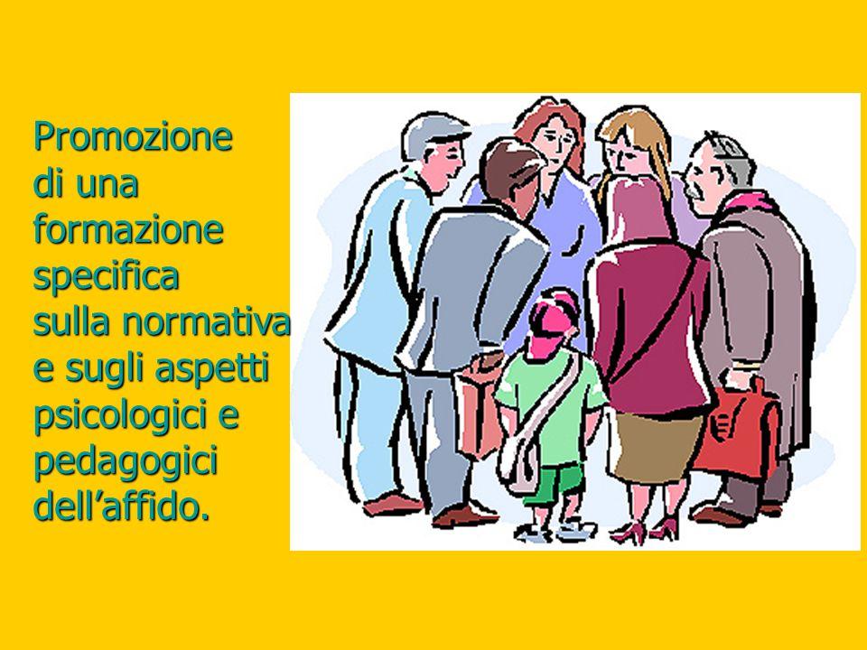 Promozione di una formazione specifica sulla normativa e sugli aspetti psicologici e pedagogici dell'affido.