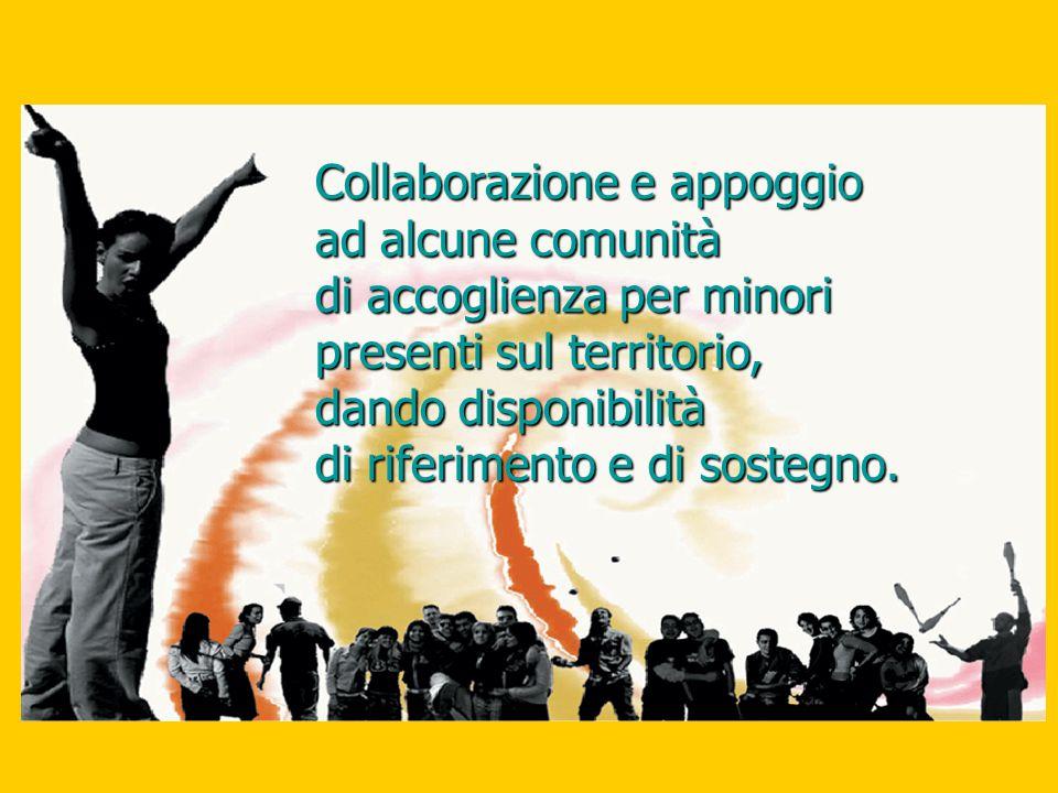Collaborazione e appoggio ad alcune comunità di accoglienza per minori presenti sul territorio, dando disponibilità di riferimento e di sostegno.