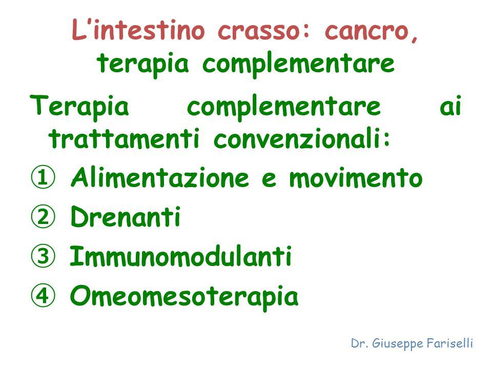 L'intestino crasso: cancro, terapia complementare Terapia complementare ai trattamenti convenzionali: ① Alimentazione e movimento ② Drenanti ③ Immunom