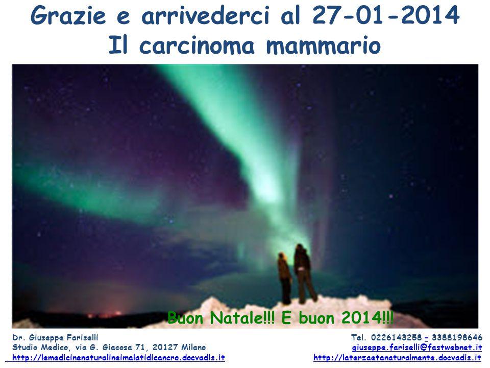 Grazie e arrivederci al 27-01-2014 Il carcinoma mammario Dr. Giuseppe Fariselli Tel. 0226143258 – 3388198646– Studio Medico, via G. Giacosa 71, 20127