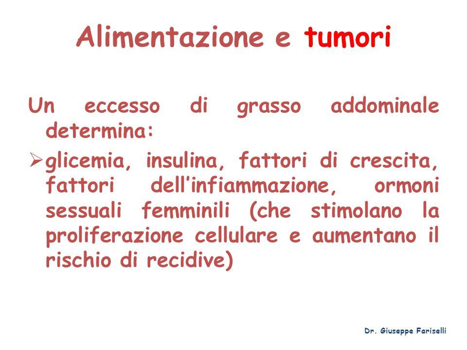 Alimentazione e tumori Un eccesso di grasso addominale determina:  glicemia, insulina, fattori di crescita, fattori dell'infiammazione, ormoni sessua