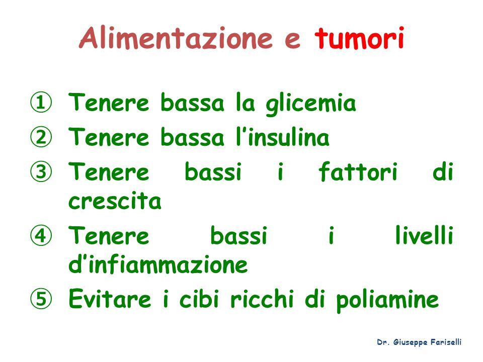 Alimentazione e tumori ① Tenere bassa la glicemia ② Tenere bassa l'insulina ③ Tenere bassi i fattori di crescita ④ Tenere bassi i livelli d'infiammazi