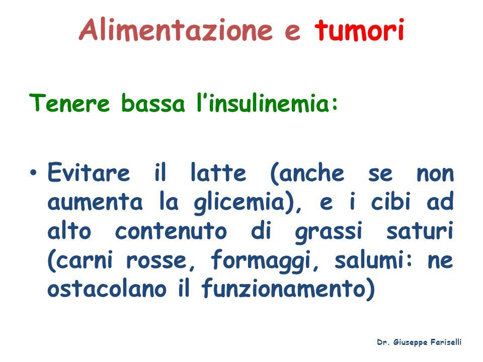 Alimentazione e tumori Tenere bassa l'insulinemia: Evitare il latte (anche se non aumenta la glicemia), e i cibi ad alto contenuto di grassi saturi (c