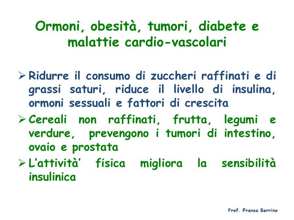Ormoni, obesità, tumori, diabete e malattie cardio-vascolari  Ridurre il consumo di zuccheri raffinati e di grassi saturi, riduce il livello di insul