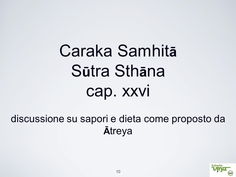 10 Caraka Samhit ā S ū tra Sth ā na cap. xxvi discussione su sapori e dieta come proposto da Ā treya