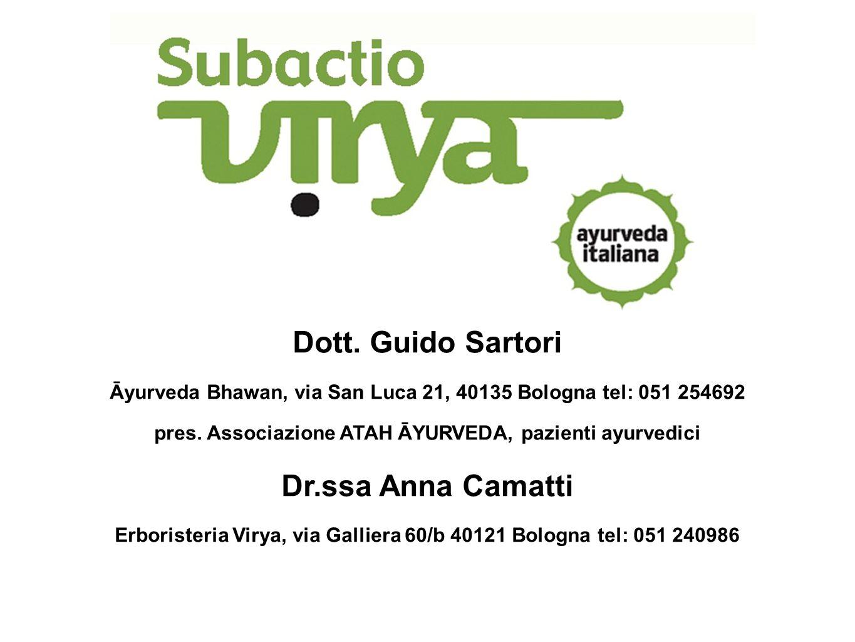 Dott. Guido Sartori Āyurveda Bhawan, via San Luca 21, 40135 Bologna tel: 051 254692 pres. Associazione ATAH ĀYURVEDA, pazienti ayurvedici Dr.ssa Anna