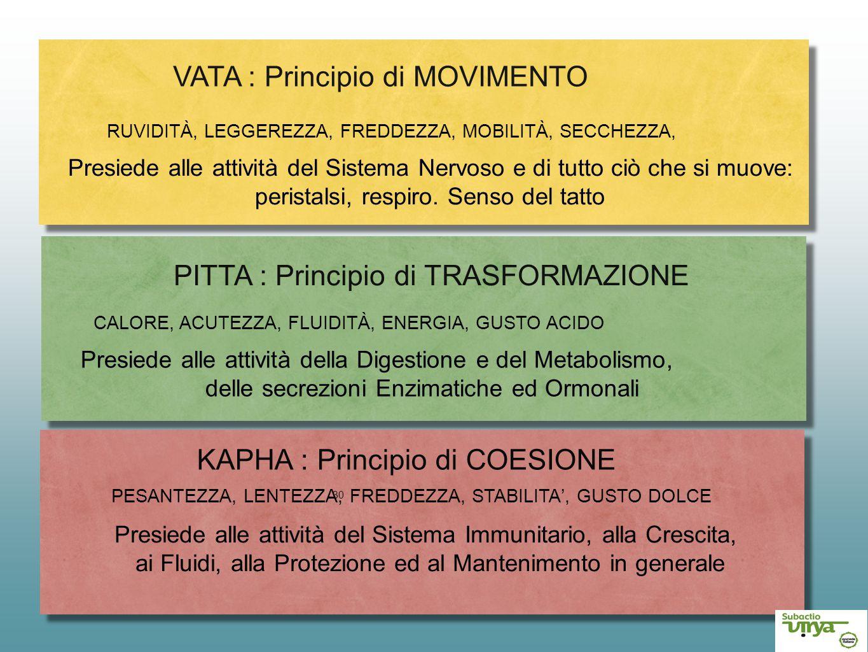 30 VATA : Principio di MOVIMENTO RUVIDITÀ, LEGGEREZZA, FREDDEZZA, MOBILITÀ, SECCHEZZA, Presiede alle attività del Sistema Nervoso e di tutto ciò che s