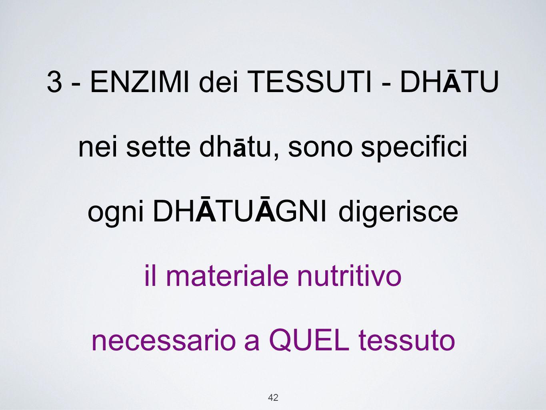 42 3 - ENZIMI dei TESSUTI - DH Ā TU nei sette dh ā tu, sono specifici ogni DH Ā TU Ā GNI digerisce il materiale nutritivo necessario a QUEL tessuto