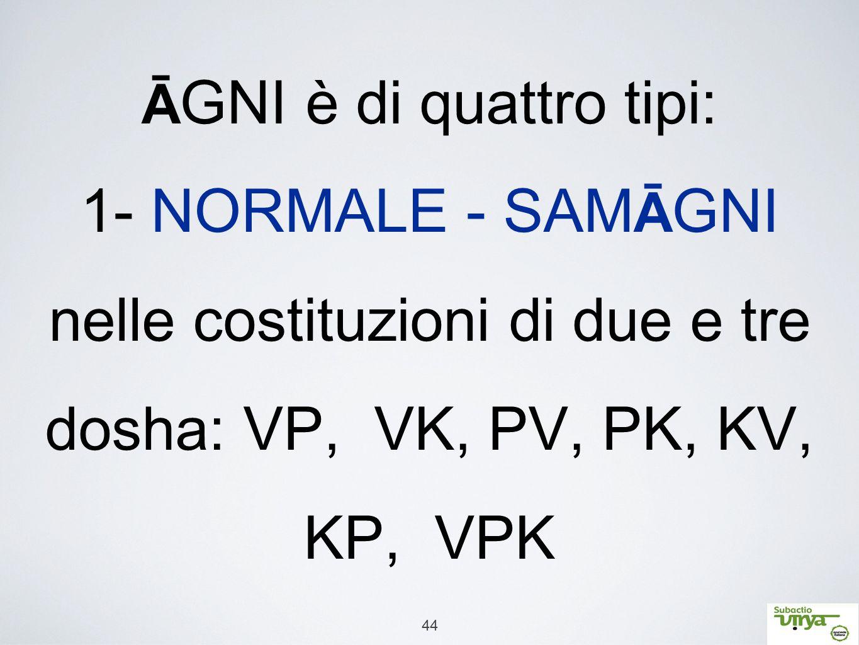 44 Ā GNI è di quattro tipi: 1- NORMALE - SAM Ā GNI nelle costituzioni di due e tre dosha: VP, VK, PV, PK, KV, KP, VPK