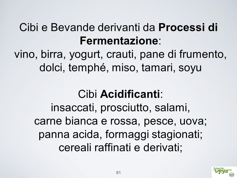 61 Cibi e Bevande derivanti da Processi di Fermentazione: vino, birra, yogurt, crauti, pane di frumento, dolci, temphé, miso, tamari, soyu Cibi Acidif