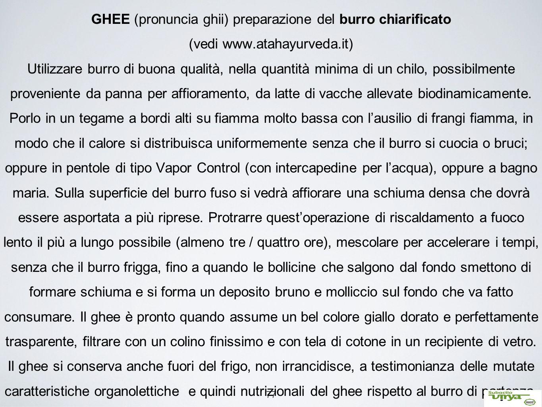 77 GHEE (pronuncia ghii) preparazione del burro chiarificato (vedi www.atahayurveda.it) Utilizzare burro di buona qualità, nella quantità minima di un