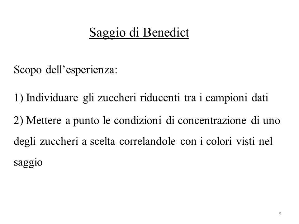 Saggio di Benedict Scopo dell'esperienza: 1) Individuare gli zuccheri riducenti tra i campioni dati 2) Mettere a punto le condizioni di concentrazione