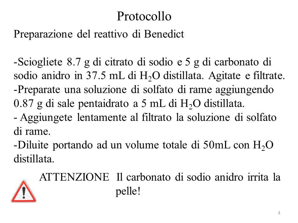 Protocollo Preparazione del reattivo di Benedict -Sciogliete 8.7 g di citrato di sodio e 5 g di carbonato di sodio anidro in 37.5 mL di H 2 O distillata.