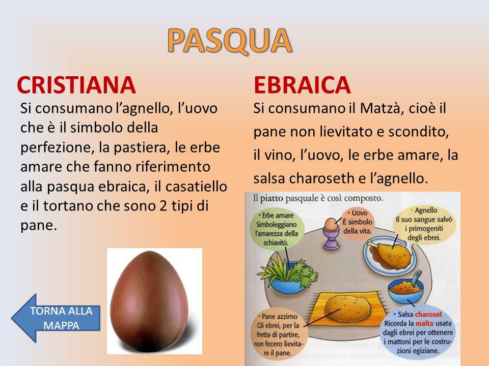 CRISTIANA EBRAICA Si consumano il Matzà, cioè il pane non lievitato e scondito, il vino, l'uovo, le erbe amare, la salsa charoseth e l'agnello.