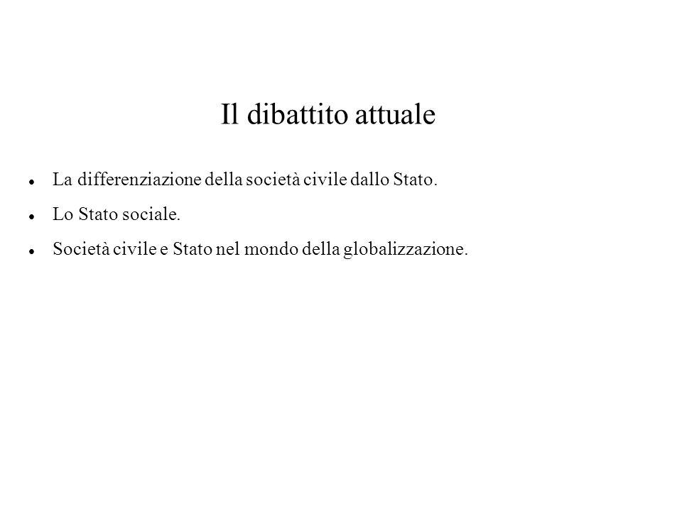 Il dibattito attuale La differenziazione della società civile dallo Stato.