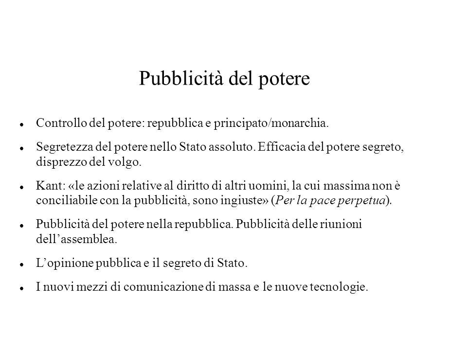 Pubblicità del potere Controllo del potere: repubblica e principato/monarchia.