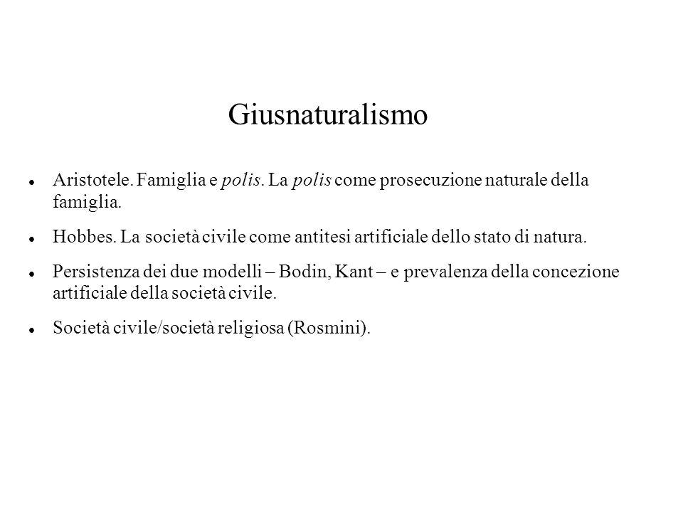 Giusnaturalismo Aristotele. Famiglia e polis. La polis come prosecuzione naturale della famiglia.