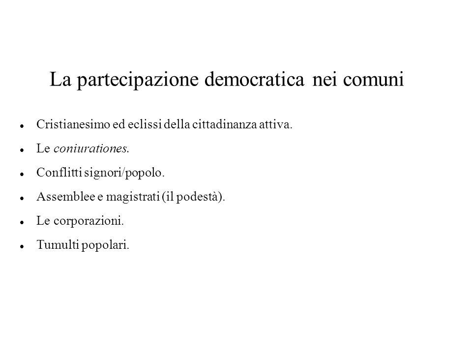 La partecipazione democratica nei comuni Cristianesimo ed eclissi della cittadinanza attiva.