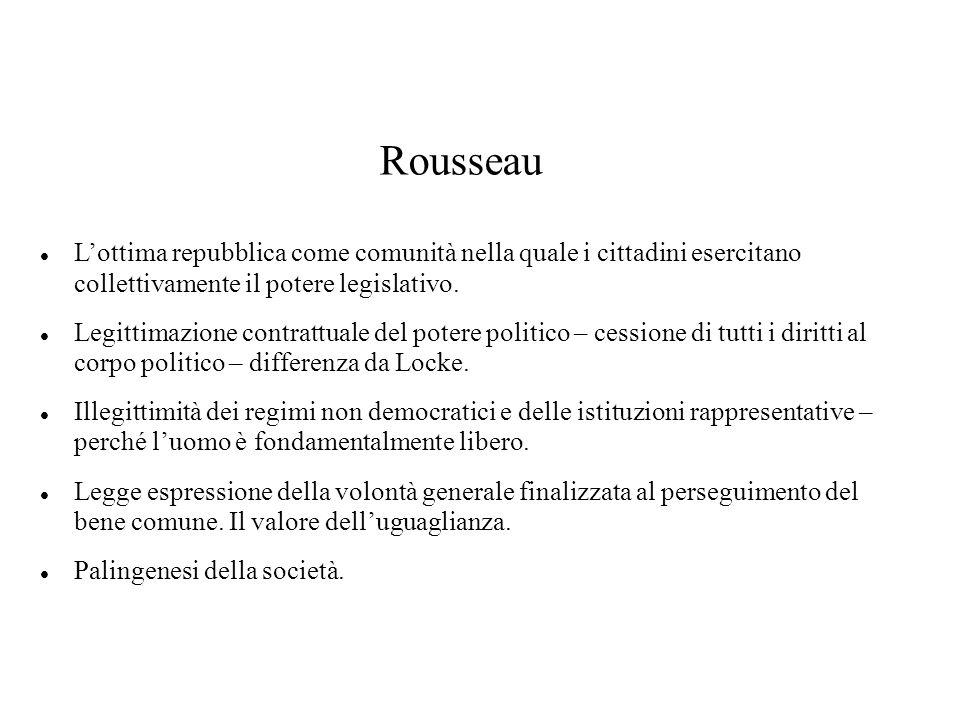 Rousseau L'ottima repubblica come comunità nella quale i cittadini esercitano collettivamente il potere legislativo.