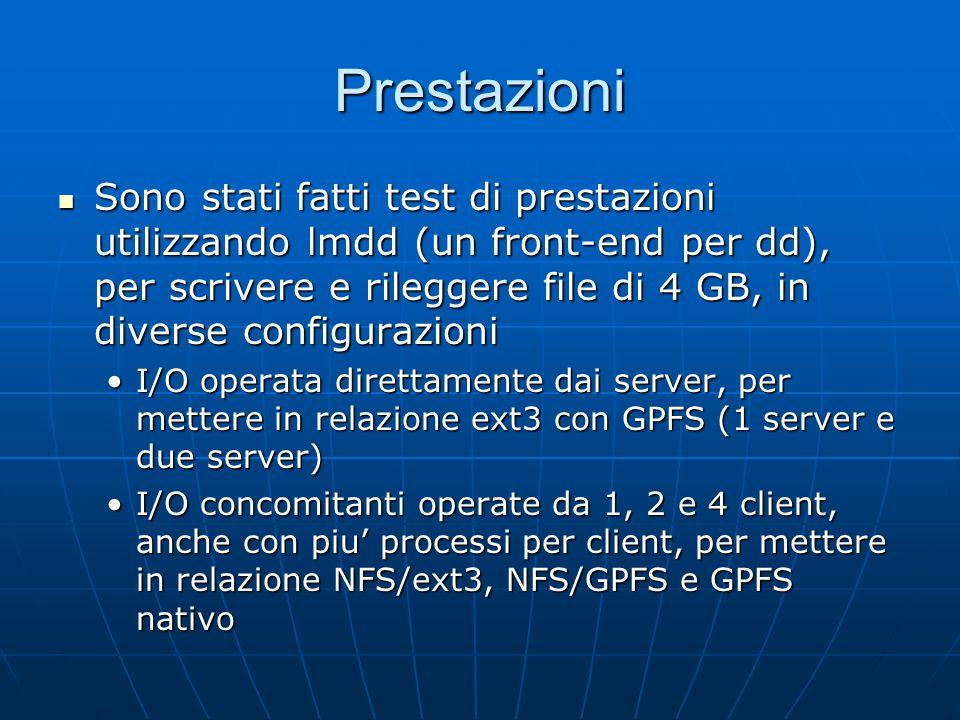 Prestazioni Sono stati fatti test di prestazioni utilizzando lmdd (un front-end per dd), per scrivere e rileggere file di 4 GB, in diverse configurazioni Sono stati fatti test di prestazioni utilizzando lmdd (un front-end per dd), per scrivere e rileggere file di 4 GB, in diverse configurazioni I/O operata direttamente dai server, per mettere in relazione ext3 con GPFS (1 server e due server)I/O operata direttamente dai server, per mettere in relazione ext3 con GPFS (1 server e due server) I/O concomitanti operate da 1, 2 e 4 client, anche con piu' processi per client, per mettere in relazione NFS/ext3, NFS/GPFS e GPFS nativoI/O concomitanti operate da 1, 2 e 4 client, anche con piu' processi per client, per mettere in relazione NFS/ext3, NFS/GPFS e GPFS nativo