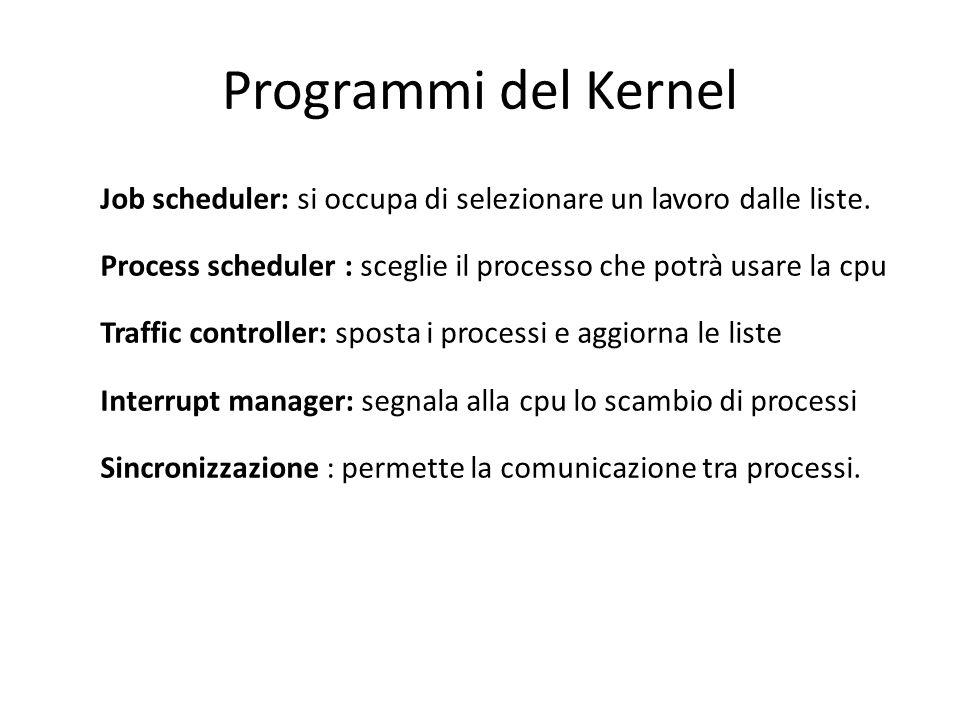 Programmi del Kernel Job scheduler: si occupa di selezionare un lavoro dalle liste. Process scheduler : sceglie il processo che potrà usare la cpu Tra