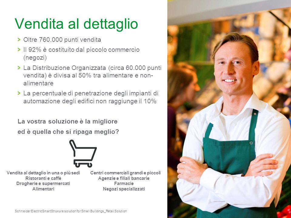 Schneider Electric 19 SmartStruxure solution for Small Buildings_Retail Solution Vendita al dettaglio in una o più sedi Ristoranti e caffè Drogherie e