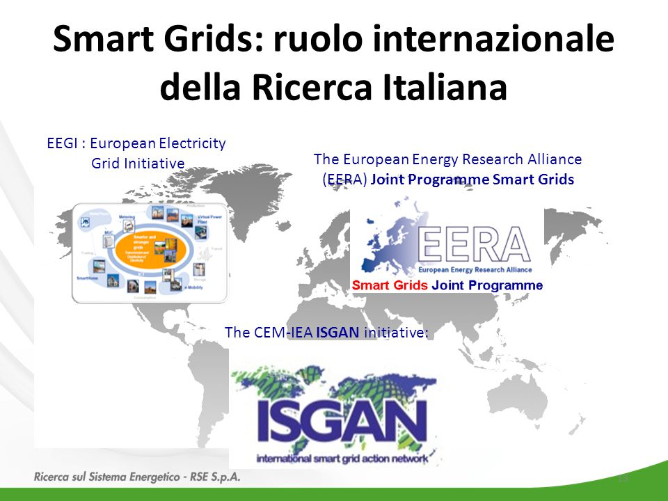 Smart Grids: ruolo internazionale della Ricerca Italiana The CEM-IEA ISGAN initiative: The European Energy Research Alliance (EERA) Joint Programme Smart Grids EEGI : European Electricity Grid Initiative 13