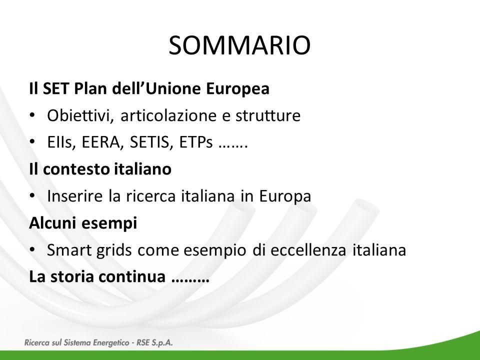 Il SET Plan dell'Unione Europea Obiettivi, articolazione e strutture EIIs, EERA, SETIS, ETPs …….