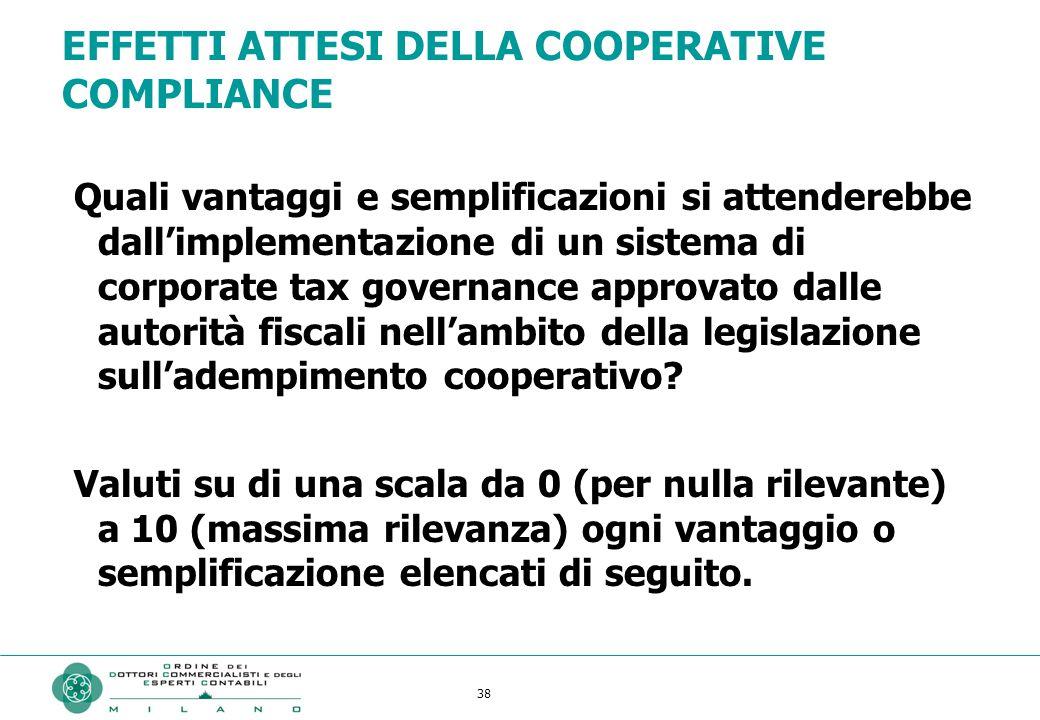 38 EFFETTI ATTESI DELLA COOPERATIVE COMPLIANCE Quali vantaggi e semplificazioni si attenderebbe dall'implementazione di un sistema di corporate tax governance approvato dalle autorità fiscali nell'ambito della legislazione sull'adempimento cooperativo.