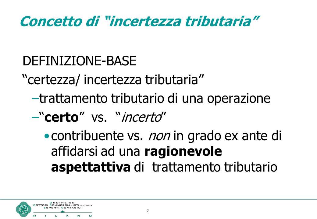 7 77777 Concetto di incertezza tributaria DEFINIZIONE-BASE certezza/ incertezza tributaria –trattamento tributario di una operazione – certo vs.