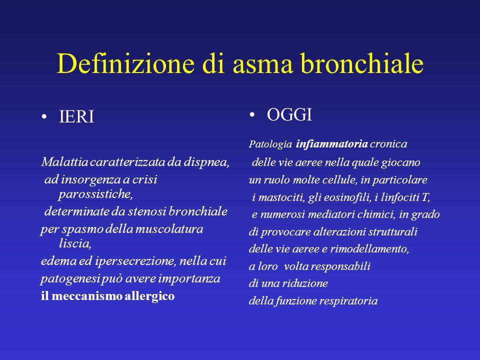 Definizione di asma bronchiale IERI Malattia caratterizzata da dispnea, ad insorgenza a crisi parossistiche, determinate da stenosi bronchiale per spa