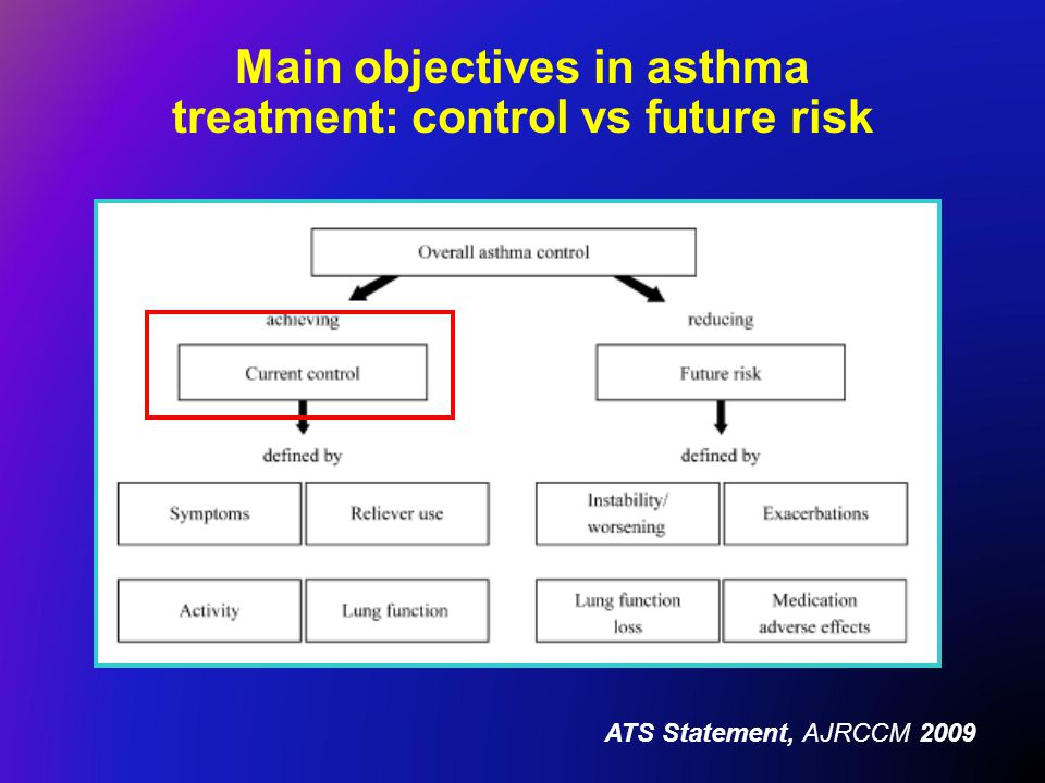 Main objectives in asthma treatment: control vs future risk ATS Statement, AJRCCM 2009