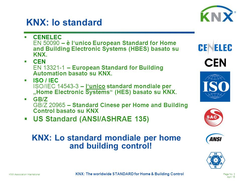 KNX Association International Page No. 3 April 15 KNX: The worldwide STANDARD for Home & Building Control KNX: lo standard  CENELEC EN 50090 – è l'un
