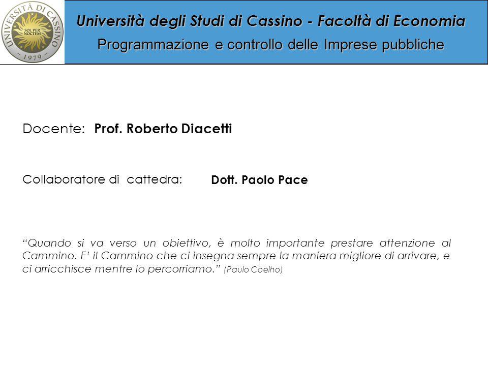 Università degli Studi di Cassino - Facoltà di Economia Programmazione e controllo delle Imprese pubbliche Collaboratore di cattedra: Dott.