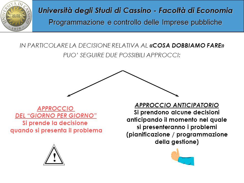 Università degli Studi di Cassino - Facoltà di Economia Programmazione e controllo delle Imprese pubbliche IN PARTICOLARE LA DECISIONE RELATIVA AL «COSA DOBBIAMO FARE» PUO' SEGUIRE DUE POSSIBILI APPROCCI: APPROCCIO DEL GIORNO PER GIORNO Si prende la decisione quando si presenta il problema APPROCCIO ANTICIPATORIO Si prendono alcune decisioni anticipando il momento nel quale si presenteranno i problemi (pianificazione / programmazione della gestione) !