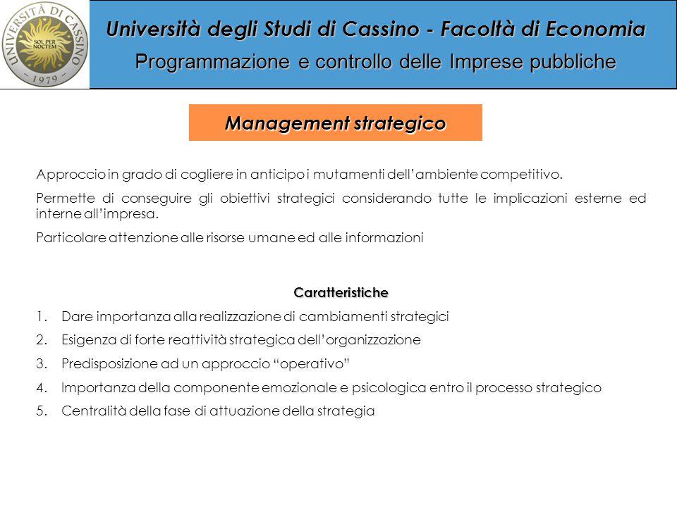 Università degli Studi di Cassino - Facoltà di Economia Programmazione e controllo delle Imprese pubbliche Management strategico Approccio in grado di cogliere in anticipo i mutamenti dell'ambiente competitivo.