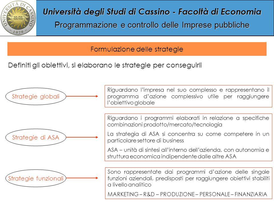 Università degli Studi di Cassino - Facoltà di Economia Programmazione e controllo delle Imprese pubbliche Formulazione delle strategie Definiti gli obiettivi, si elaborano le strategie per conseguirli Strategie globali Strategie di ASA Strategie funzionali Riguardano l'impresa nel suo complesso e rappresentano il programma d'azione complessivo utile per raggiungere l'obiettivo globale Riguardano i programmi elaborati in relazione a specifiche combinazioni prodotto/mercato/tecnologia La strategia di ASA si concentra su come competere in un particolare settore di business ASA – unità di sintesi all'interno dell'azienda, con autonomia e struttura economica indipendente dalle altre ASA Sono rappresentate dai programmi d'azione delle singole funzioni aziendali, predisposti per raggiungere obiettivi stabiliti a livello analitico MARKETING – R&D – PRODUZIONE – PERSONALE – FINANZIARIA