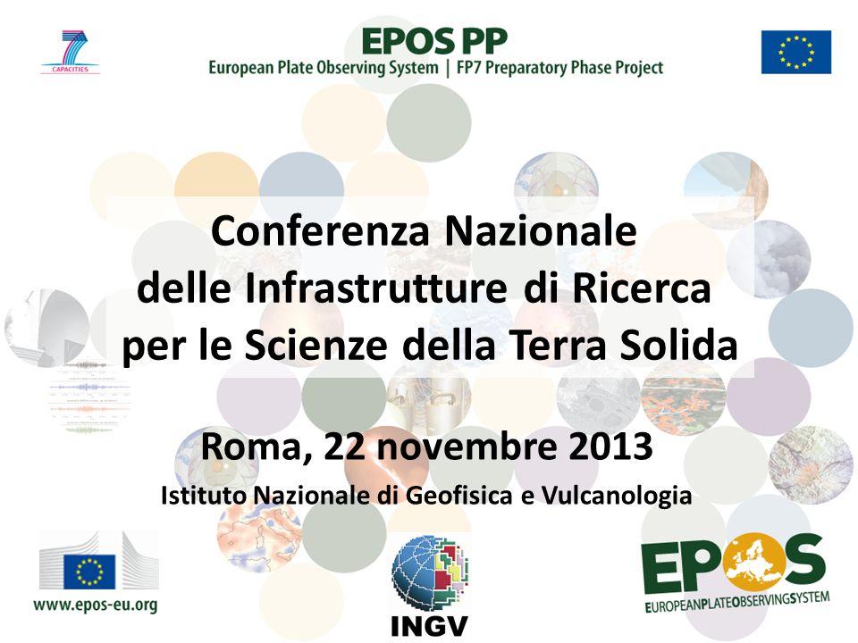 Roma, 22 novembre 2013 Istituto Nazionale di Geofisica e Vulcanologia Conferenza Nazionale delle Infrastrutture di Ricerca per le Scienze della Terra