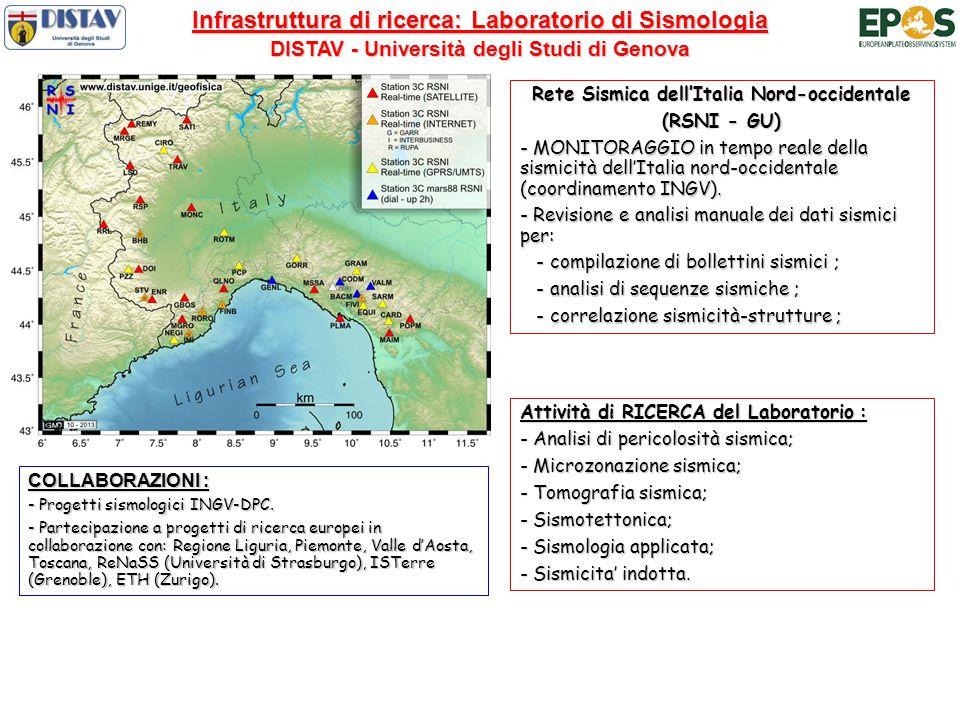 Infrastruttura di ricerca: Laboratorio di Sismologia DISTAV - Università degli Studi di Genova Attività di RICERCA del Laboratorio : - Analisi di pericolosità sismica; - Microzonazione sismica; - Tomografia sismica; - Sismotettonica; - Sismologia applicata; - Sismicita' indotta.